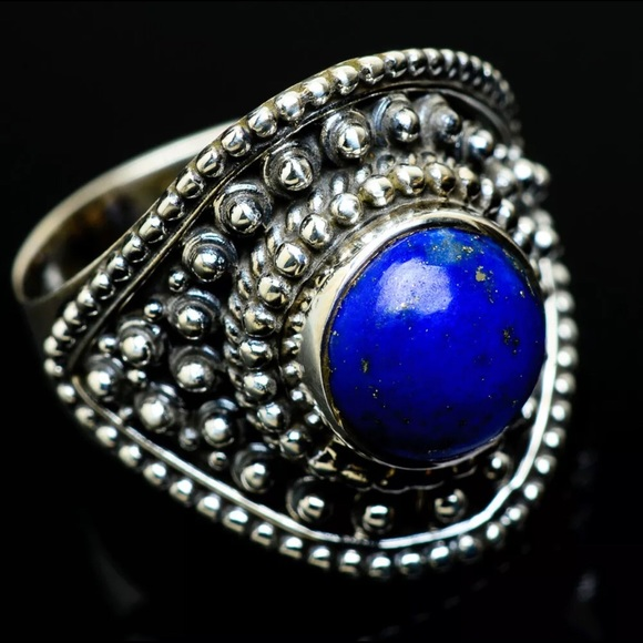 Vintage blue lazuli lapis /& fire opal stone 925 sterling ring size 9